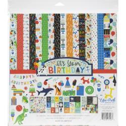 Набор бумаги It's Your Birthday Boy, 30х30 см12 л+1 л с наклейками, Echo Park Paper