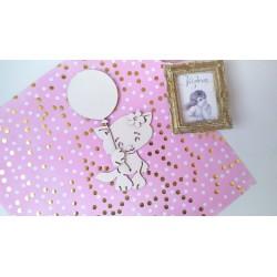 Заготовка для тиснения Котенок девочка с воздушным шаром  , 17,7x11.2 см , толщина 1,5мм для тиснения на замше