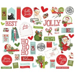 Высечки Simple Vintage North Pole Bits & Pieces Die-Cuts 47/Pkg, Simple Stories