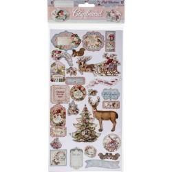 Чипборд Pink Christmas 15*30 см,  Stamperia