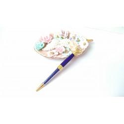 Шариковая ручка Синяя с Бриллиантом и кристаллами, металл, в индивидуальной пластиковой  упаковке