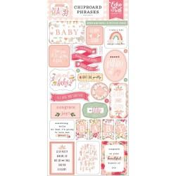 Чипборд WELCOME BABY GIRL 15*30 см, Echo Park Paper