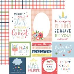 Лист скрапбумаги Multi Journaling Cards Little Dreamer Girl 30*30см, Echo Park