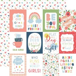 """Лист скрапбумаги 3""""X4"""" Journaling Cards Little Dreamer Girl 30*30см, Echo Park"""