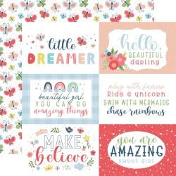 """Лист скрапбумаги 6""""X4"""" Journaling Cards Little Dreamer Girl 30*30см, Echo Park"""
