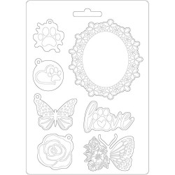 Текстурный мат Frame & Butterfly, Circle Of Love  Stamperia Soft Maxi Mould A5