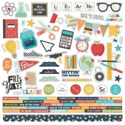 "Наклейки School Life Cardstock Stickers 12""X12"" Simple Stories"
