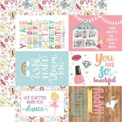 "Лист скрапбумаги 4""X6"" Journaling Cards All Girl 30,5*30,5 см, Echo Park Paper"
