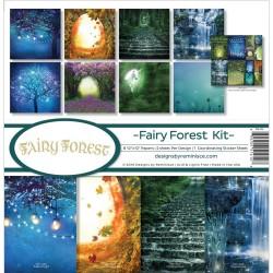 Набор бумаги Fairy Forest Fireflies & Unicorn 30х30 см, 8 л, + лист наклеек, двухсторонняя, Reminisce