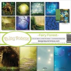 Набор бумаги Fairy Forest Hollow Tree & Butterflies 30х30 см, 8 л, + лист наклеек, двухсторонняя, Reminisce