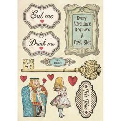 Деревянный чипборд Drink Me, Alice, Wooden Shapes A5,  Stamperia
