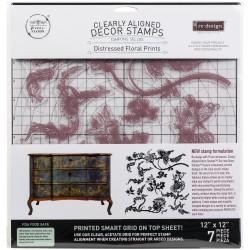"Прозрачные штампы Distressed Floral Prints Prima Marketing Re-Design Decor Clear Cling Stamps 12""X12"""