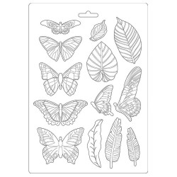 Молд Leaves & Butterflies, Amazonia Maxi Mould A4 Stamperia