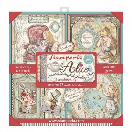 Набор бумаги Alice In Woderland & The Looking Glass 30*30см, 22л Stamperia