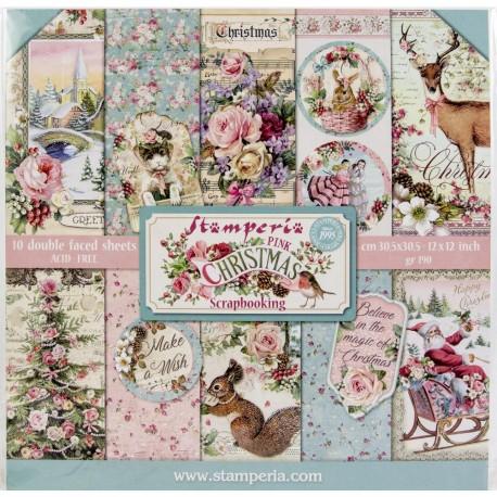 Набор бумаги Pink Christmas 30*30см, 10л Stamperia