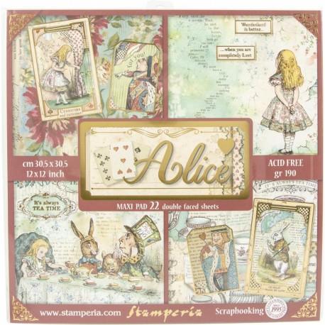 Набор бумаги Alice In Wonderlan 30*30см, 22л Stamperia
