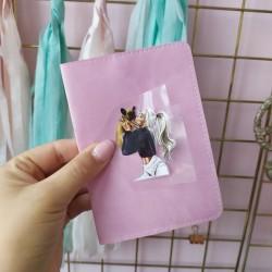 Картинка для термопереноса Девочка с мопсом 5.5х4.2 см