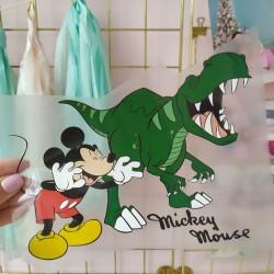 Картинка для термопереноса Микки с Динозавром 15х18.5 см