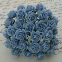 Розы, 10 мм, 5 шт. BABY BLUE MULBERRY PAPER OPEN ROSES