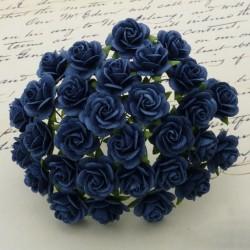 Розы, 10 мм, 5 шт.  NAVY BLUE MULBERRY PAPER OPEN ROSES