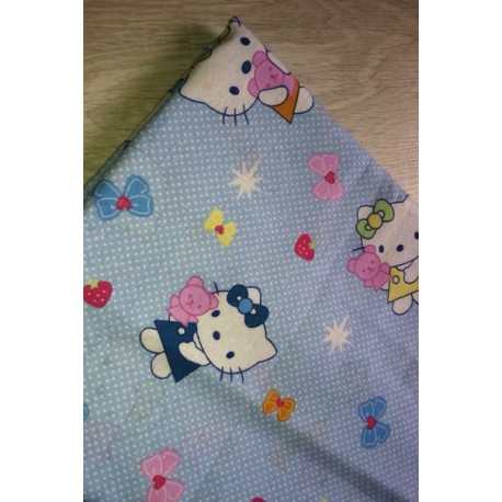 Отрез ткани детская Китти голубая в горошек 55*50 см хлопок