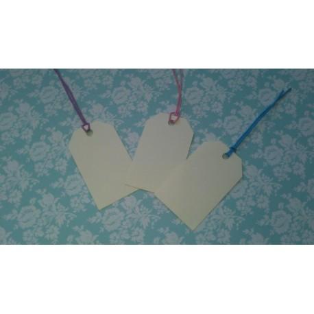 Бирка / Тег, 5,7*3,3 см, кремовый, 5 шт., картон 200 гр/м2