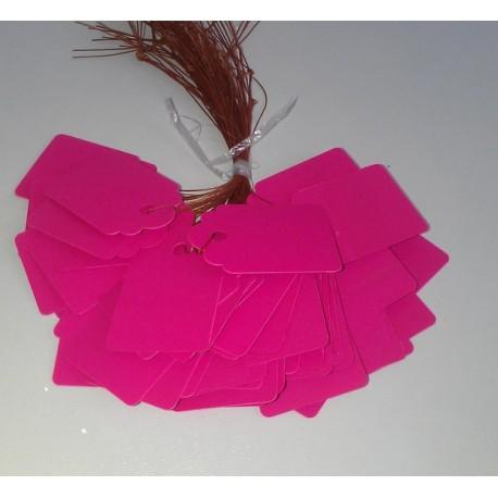 Бирка/Тег 36 мм x 25 мм, пластик, 5 шт. розовые