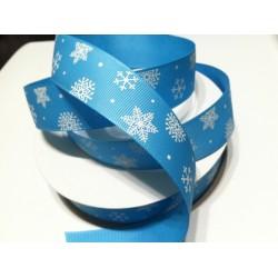 Лента голубая в снежинках 2,5см, репс