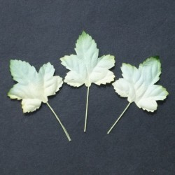 Листики 10 шт. 45мм 2-tone green/white Mulberry Paper Maple Leaves