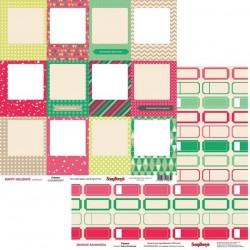 Бумага для скрапбукинга 30,5х30,5 см 180 гр/м двусторонняя «Зимние Каникулы» Рамки, ScrapBerry's