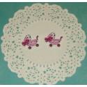 """Пуговица Коляска №2"""" малиновая с фиолетовым бантиком, 3.2см x 27.0мм"""""""