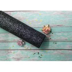 Кожзам Глиттер мелкий Черный 25*45 см