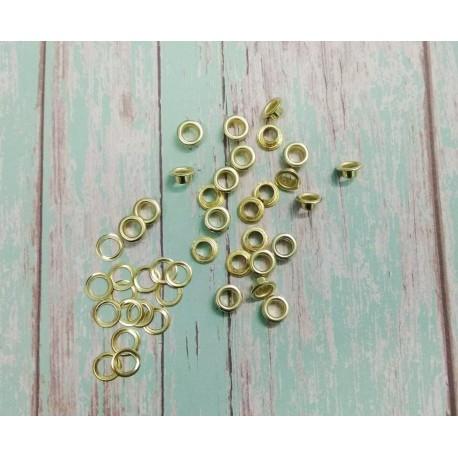Люверсы Золото с кольцами, 10 шт