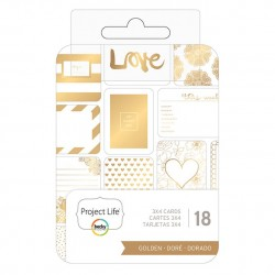 Project Life - Journaling Cards — 7,5 x 10 см с золотым фольгированием, 18 Piece