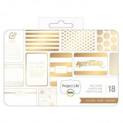 Project Life - Journaling Cards — 10 x 15 см с золотым фольгированием, 18 Piece