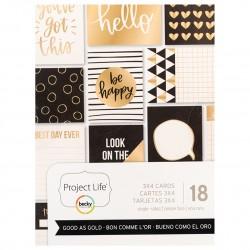 Набор карточек с золотым фольгированием  Becky Higgins - Project Life, Good As Gold Collection - 3 x 4 Card Pad, 18 шт