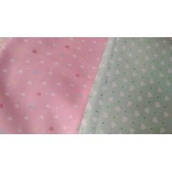 Ткань Сердечки разноцветные на персиковом фоне 50*40 см, Корея