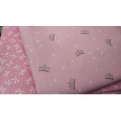 Ткань Короны на розовом фоне 50*40 см, Корея