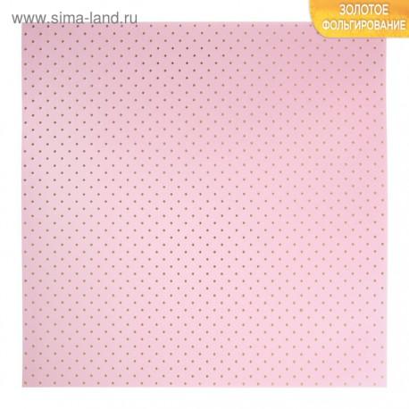 Бумага для скрапбукинга с фольгированием горошек на розовом фоне, 30,5 х 30,5 см