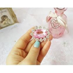 Брошь с розовым камнем 35*45мм
