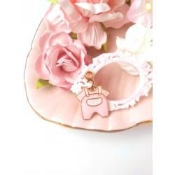 Подвеска Бодик розовый с эмалью 2,3*1,6 см