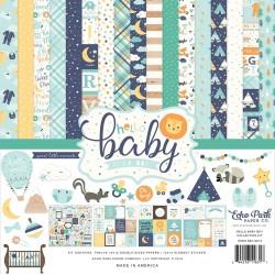 Набор бумаги HELLO BABY BOY, 12 л+1 л с наклейками, Echo Park Paper