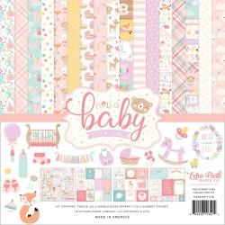 Набор бумаги HELLO BABY GIRL, 12 л+1 л с наклейками, Echo Park Paper