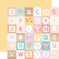 Лист скрапбумаги HELLO BABY GIRL Alphabet blocks 30,5*30,5 см, Echo Park Paper