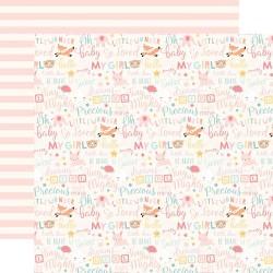 Лист скрапбумаги HELLO BABY GIRL Words 30,5*30,5 см, Echo Park Paper