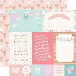 Лист скрапбумаги HELLO BABY GIRL Jurnaling cards 30,5*30,5 см, Echo Park Paper