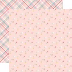 Лист скрапбумаги HELLO BABY GIRL Diaper pins 30,5*30,5 см, Echo Park Paper