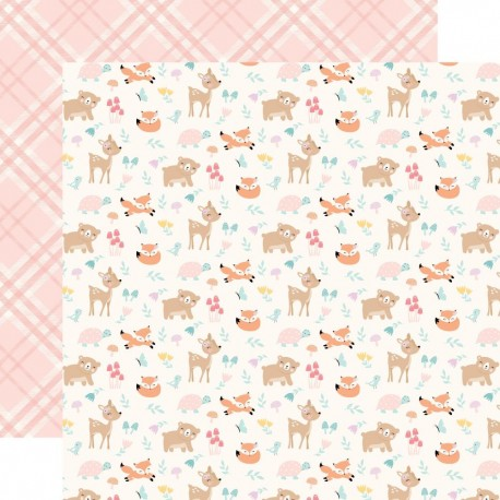 Лист скрапбумаги HELLO BABY GIRL Woodland friends 30,5*30,5 см, Echo Park Paper