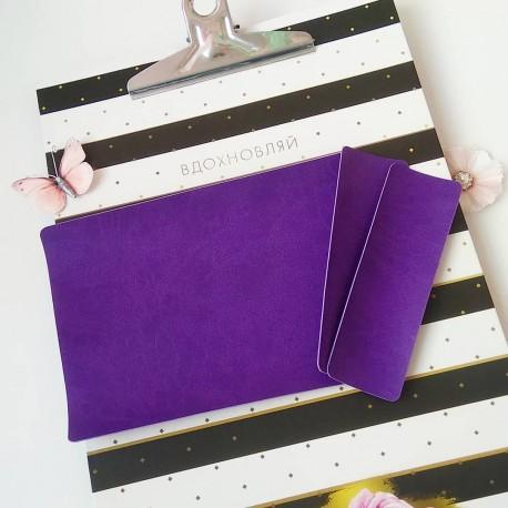 Заготовка на паспорт из Итальянского переплетного кожзама Фиолетовый матовый