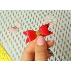 Набор для создания банта из Итальянского переплетного кожзама 5*2 см, Красный глянец